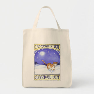 Cat Art - Crazy Kitty Time, ginger cat, tote bag