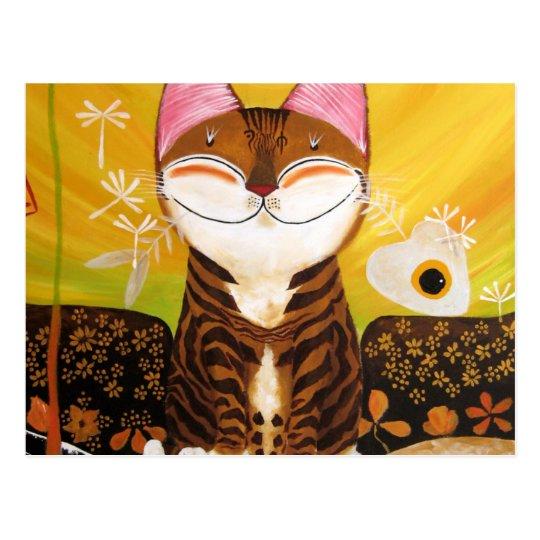 cat art - earth (5 elements) postcard