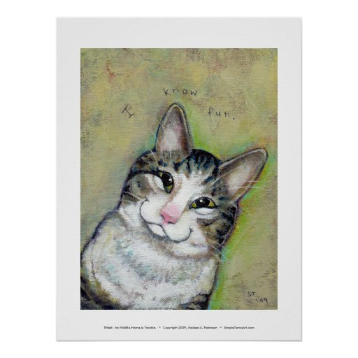 Cat art fun portrait My Middle Name is Trouble Poster