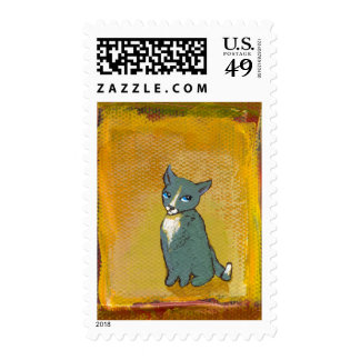 Cat art goofy cute trouble funny little painting postage stamp