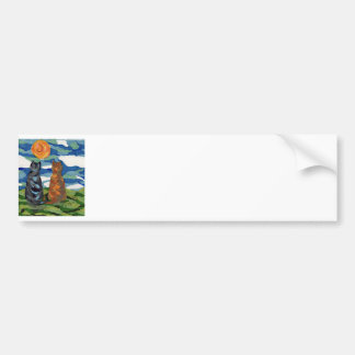 Cat Art  Gray Orange cats Bumper Sticker