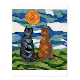 Cat Art  Gray Orange cats Postcard