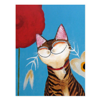 cat art - kenzo flower post card