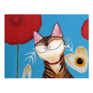cat art - kenzo flower postcard