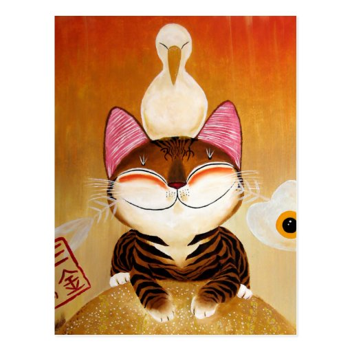 cat art - metal (5 elements) postcard