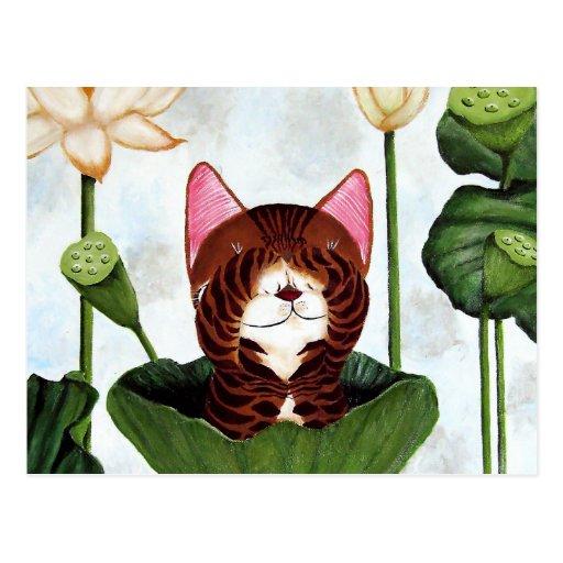 cat art- Morning Cat Post Cards