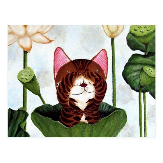 cat art- Morning Cat Postcard