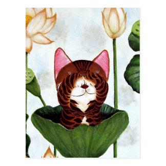 cat art- Morning Cat Postcards