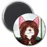 cat art- Morning Cat Refrigerator Magnets
