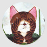 cat art- Morning Cat Round Sticker