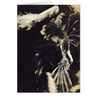 Cat Art notes, black cat profile (blank inside) Card