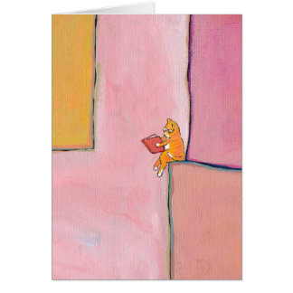 Cat art reading fun - Marmalade Prefers Solitude Card