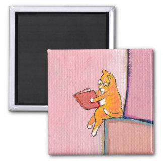 Cat art reading fun - Marmalade Prefers Solitude 2 Inch Square Magnet