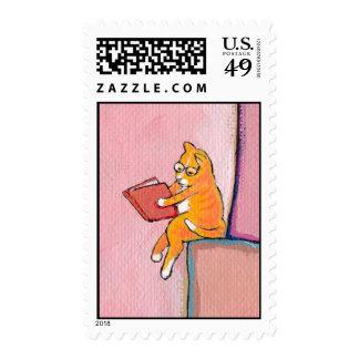 Cat art reading fun - Marmalade Prefers Solitude Postage Stamp