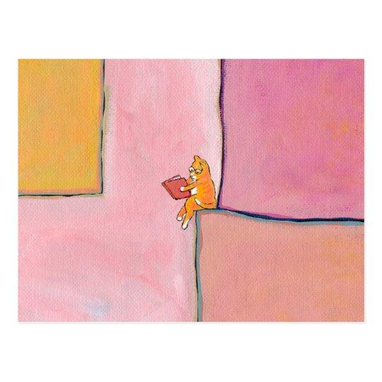 Cat art reading fun - Marmalade Prefers Solitude Postcard