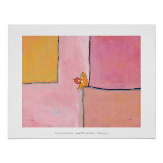 Cat art reading fun - Marmalade Prefers Solitude Poster
