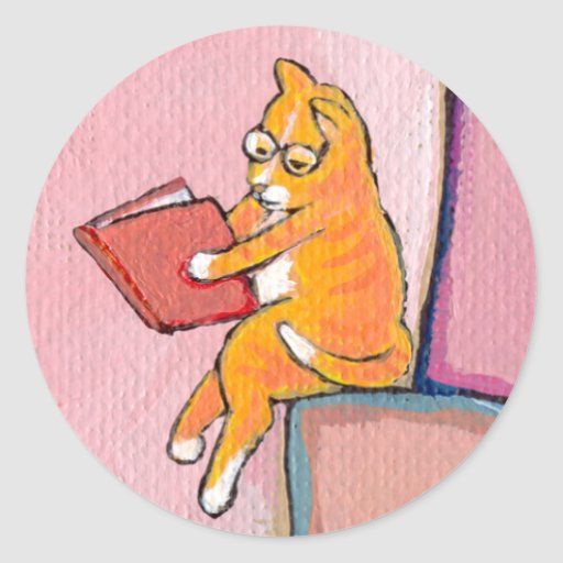 Cat art reading fun - Marmalade Prefers Solitude Round Stickers
