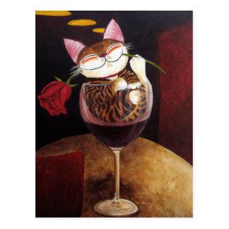 cat-art-Red Red Wine Postcard