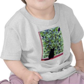 Cat Art Top Black Cat Bird Watching! T Shirts
