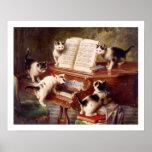 Cat Art: Vintage Art Print: The Kitten's Recital