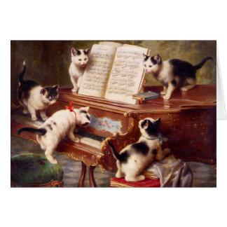 Cat Art: Vintage Art Print: The Kitten's Recital Greeting Card