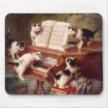 Cat Art: Vintage Art Print: The Kitten's Recital Mousepad