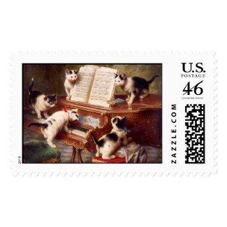 Cat Art: Vintage Art Print: The Kitten's Recital Postage Stamp