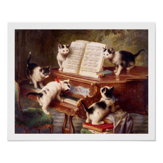 Cat Art: Vintage Art Print: The Kitten's Recital Poster