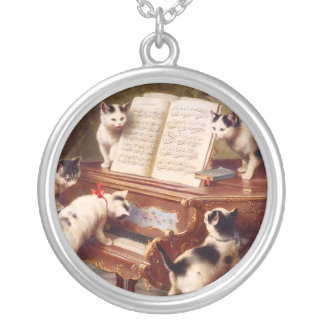 Cat Art: Vintage Art Print: The Kitten's Recital Silver Plated Necklace
