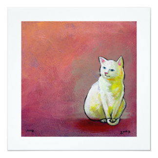 Cat art white kitty sitting for fun cute painting card