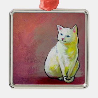 Cat art white kitty sitting for fun cute painting ornaments