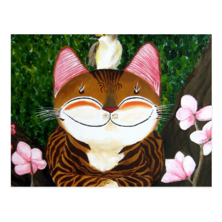 cat art - wood (5 elements) postcard