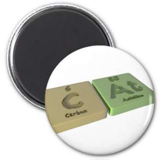 Cat as C Carbon and At Astatine 2 Inch Round Magnet