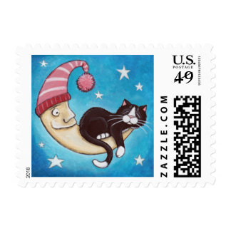 Cat Asleep on the Moon (small) Postage