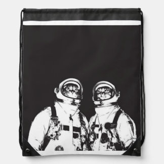 cat astronaut - black and white cat - cat memes drawstring backpack