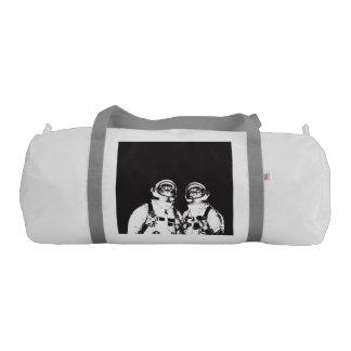 cat astronaut - black and white cat - cat memes duffle bag