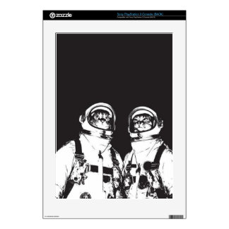 cat astronaut - black and white cat - cat memes skin for PS3 console