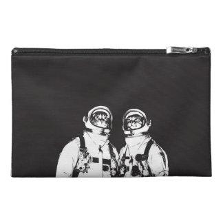 cat astronaut - black and white cat - cat memes travel accessory bag