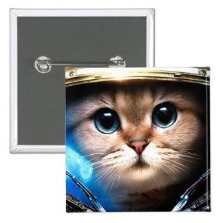 Cat astronaut button