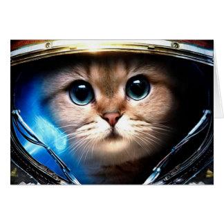 Cat astronaut card