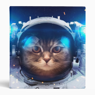 Cat astronaut - cats in space  - cat space 3 ring binder