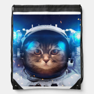 Cat astronaut - cats in space  - cat space drawstring bag
