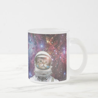 Cat astronaut - crazy cat - cat frosted glass coffee mug