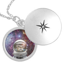 Cat astronaut - crazy cat - cat locket necklace