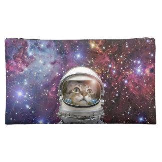 Cat astronaut - crazy cat - cat makeup bag