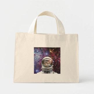 Cat astronaut - crazy cat - cat mini tote bag