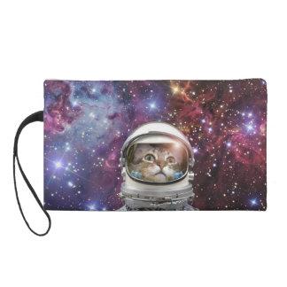 Cat astronaut - crazy cat - cat wristlet purse
