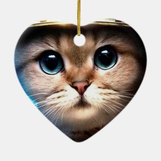 Cat astronaut Double-Sided heart ceramic christmas ornament