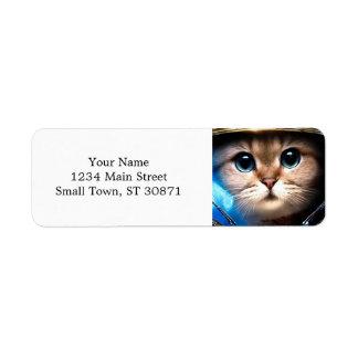 Cat astronaut label