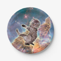 Cat astronaut - space cat - funny cats - cute cats paper plate